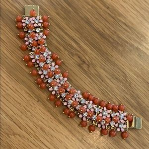 J.Crew ~ Gold Coral Beaded 🌸 Crystal Bracelet  ~